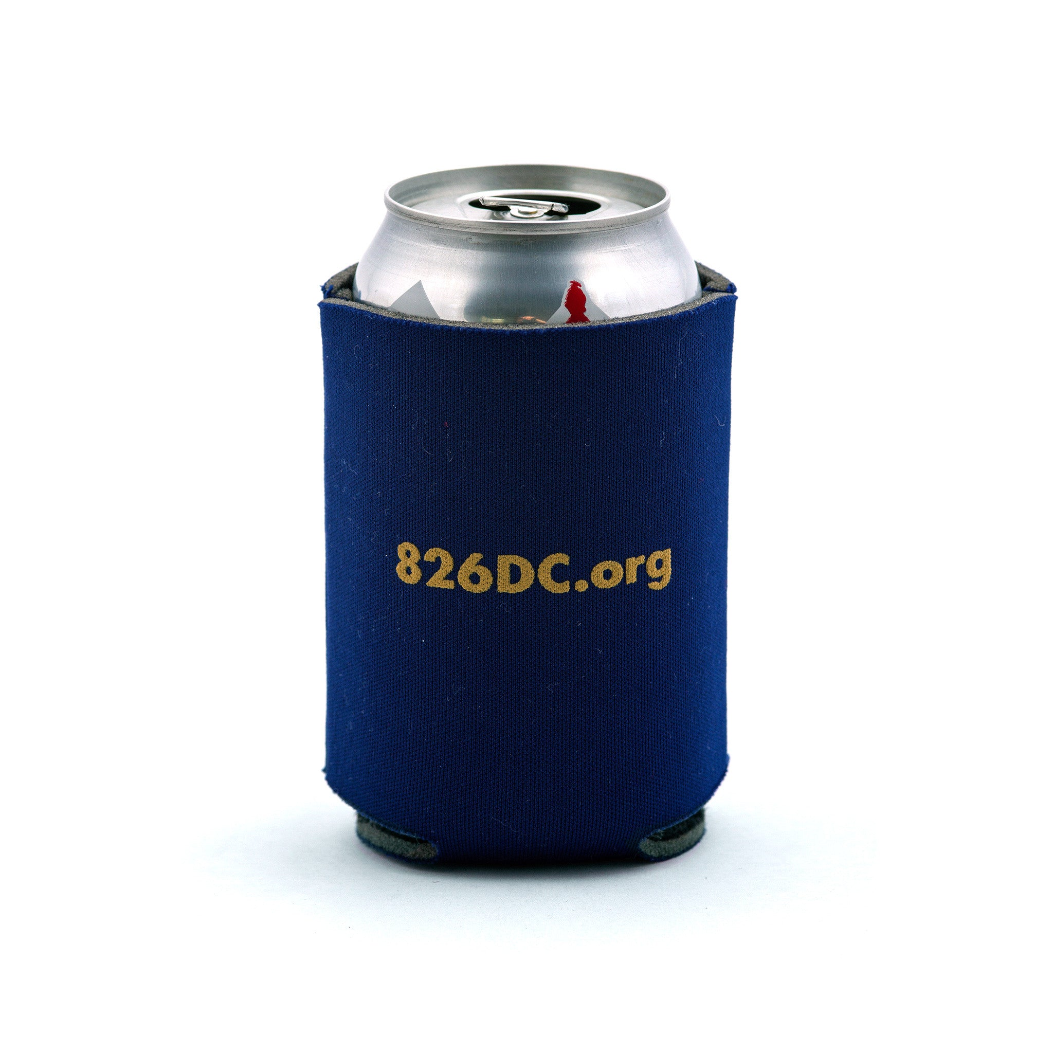 Navy blue foam koozie, perfect for cans. Tivoli's logo on one side with 826dc.org on the other.