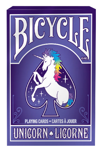 Bicycle Unicorn deck comes in blueish-purple package with a unicorn design inside a spade shape.