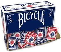 "1.7"" wide by 2.5"" tall standard Bicycle playing cards. Comes in red or blue."