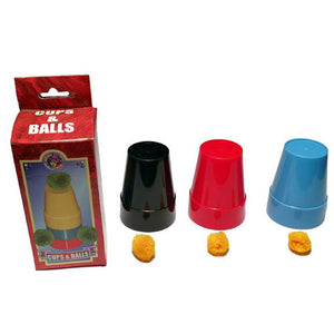 Three 3 inch tall plastic cups in black, blue, and red. Four small orange sponge balls.