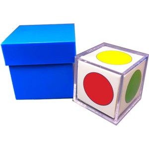 A 2 inch blue cube that comes with a lid. The blue cube has one side opened so that you can see the color picked on the white cube that goes inside. The white cube's six sides come with circles in these colors: red, yellow, green, orange, blue, and purple.