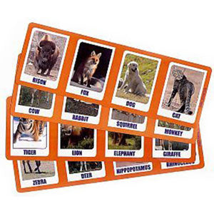 "Four 3"" x 7"" double-sided cards. Four animals on each card on both sides."