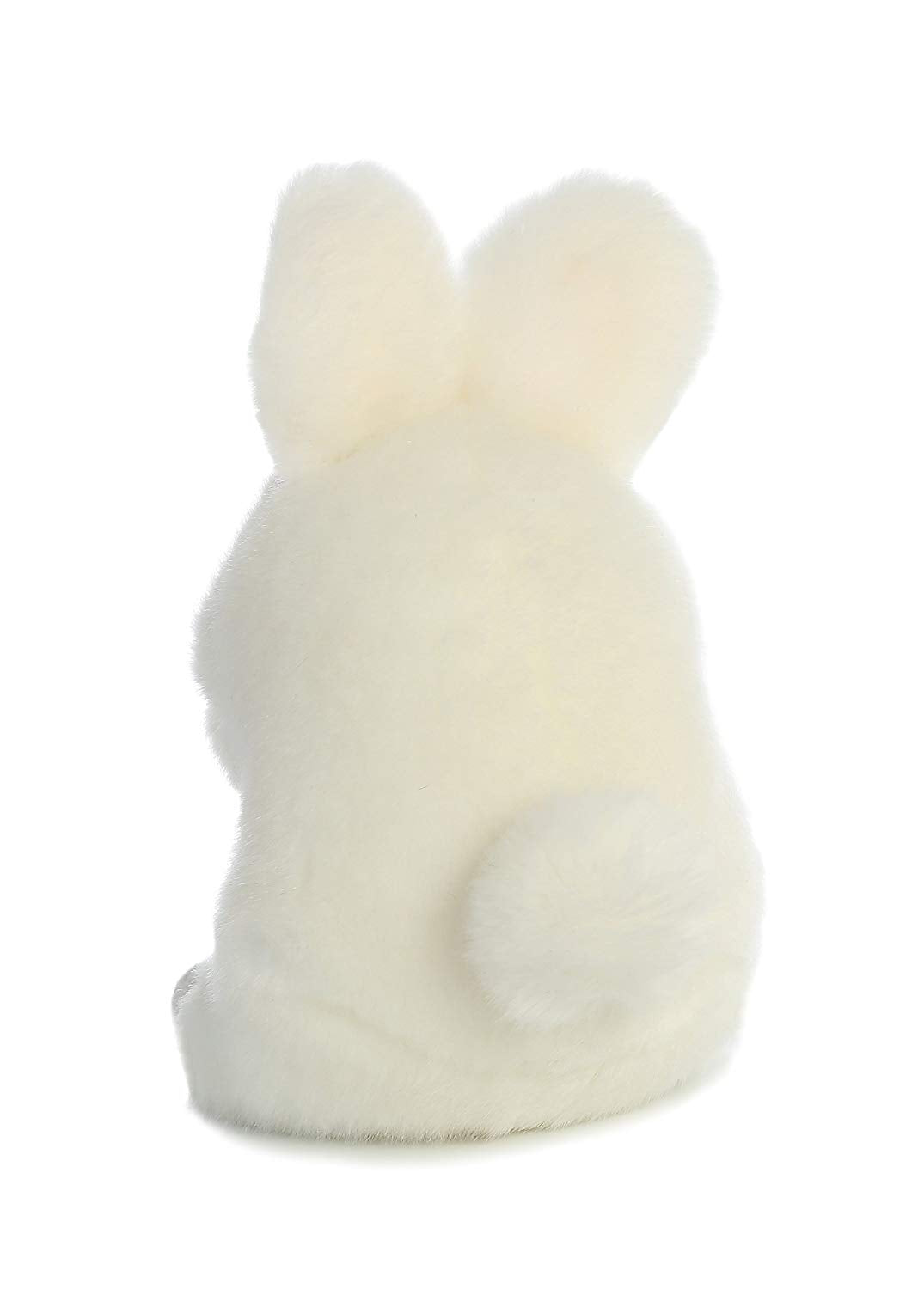 5 inch tall plush white rabbit. Pink ears and black eyes.