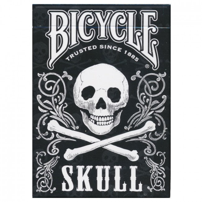 Bicycle Skull deck; it has a skull and crossbones against a black background.