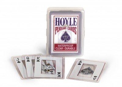 Hoyle standard playing cards. Waterproof, clear, and durable. Cards are laminated in plastic, with designs against a clear background.