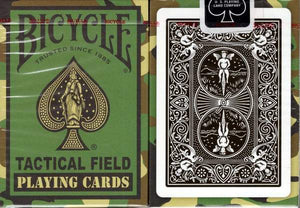 The Bicycle Tactical Field Playing Cards have a green camouflage pattern.