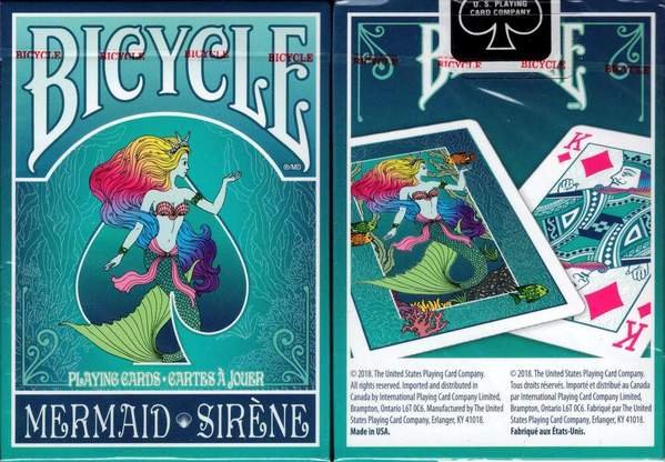 The Bicycle Mermaid deck features a mermaid with colorful hair sitting in a spade shape.