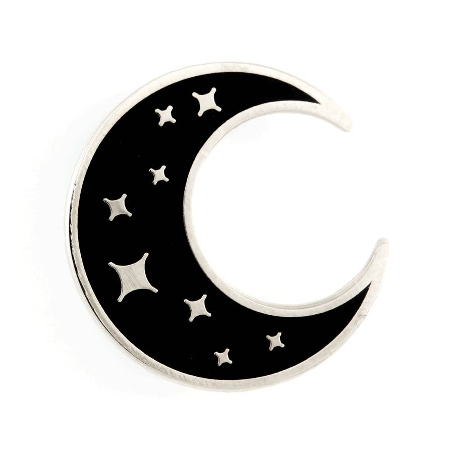 One inch silver pin shaped in a black crescent moon. Star patterns inside the shape.