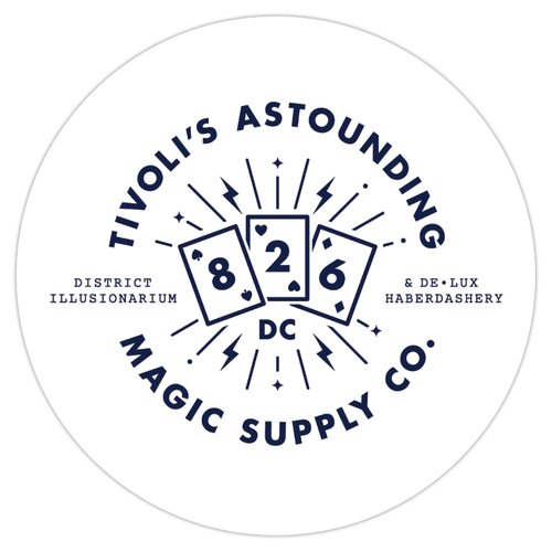 "2.5"" x 2.5"" circle sticker. Combined 826DC and Tivoli's logo in blue font against white background."
