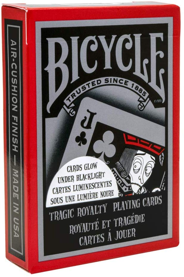 Bicycle Tragic Royalty playing cards package is in red with grey and black jack of clubs design. Cards glow in the dark under blacklight.