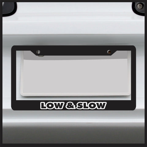 Low and Slow - License Plate Frame - JDM VIP Stance lowered slammed vinyl ill...