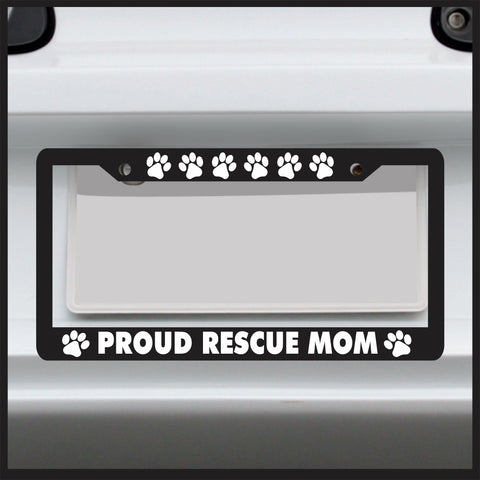 Paw Print Rescue Mom - License Plate Frame - Frame for car / truck / funny