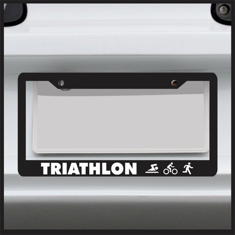 Triathlon - License Plate Frame - Swim Bike Run Car Tag Ironman sticker