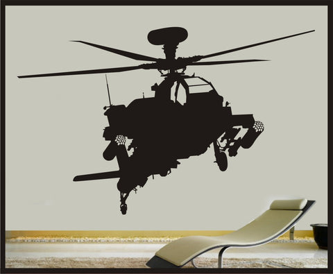 "Military Apache Attack Helicopter  Vinyl / Sticker Wall Art - 27""x47"" - Wall Art for Childrens Room"