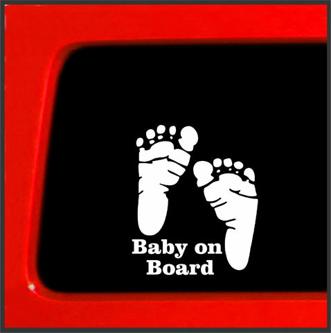 Baby on Board feet funny car vinyl sticker decal