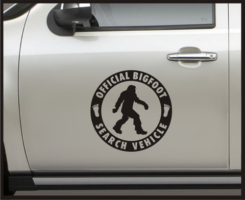 Official Bigfoot Search Vehicle - Set - Vinyl Door Decal / Sasquatch car truck 4x4