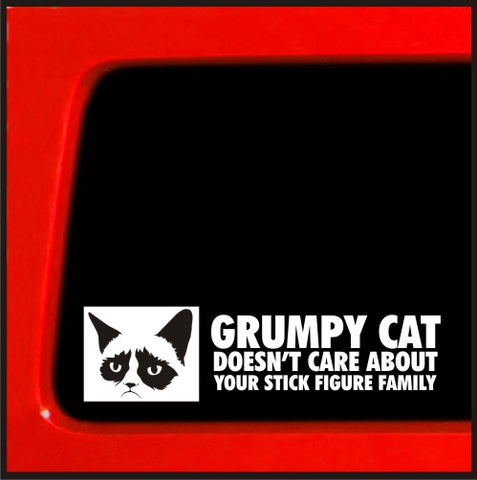 Grumpy Cat sticker Doesn't Care About Your Stick Figure Family funny decal sticker