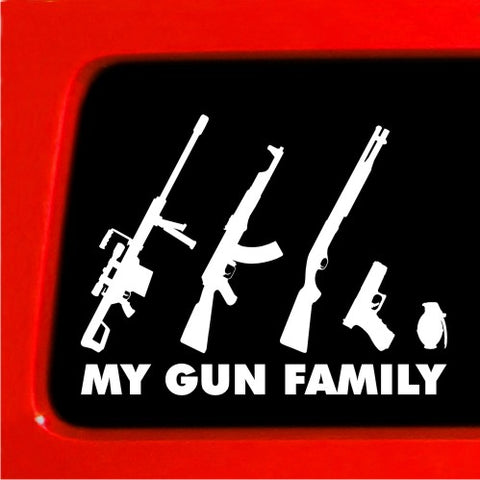 My Gun Family Sticker - Stick Figure Family car truck funny stickers car decal