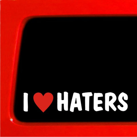 "7"" I LOVE HATERS JDM DECAL HEART STICKER CAR vinyl no a"
