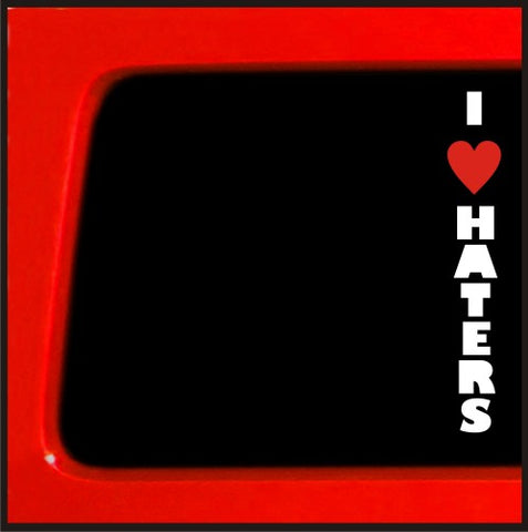 I Love Haters sticker heart vertical Funny JDM Decal Vinyl Sticker Car Import