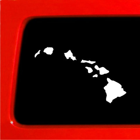 "Hawaiian Islands Sticker Decal - 7"" white car truck laptop hawaii"