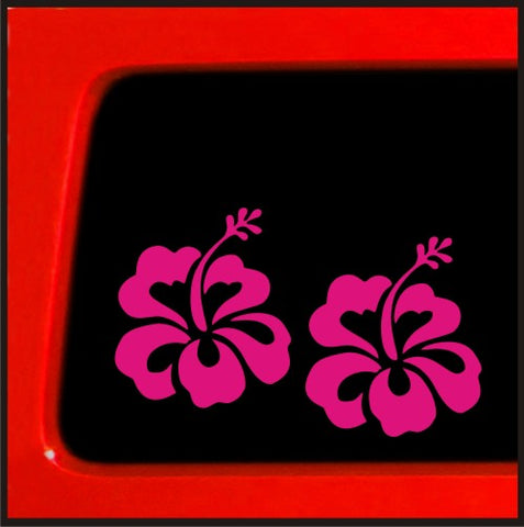 Pink Hibiscus Flower Set - Sticker Decal car truck laptop bumper