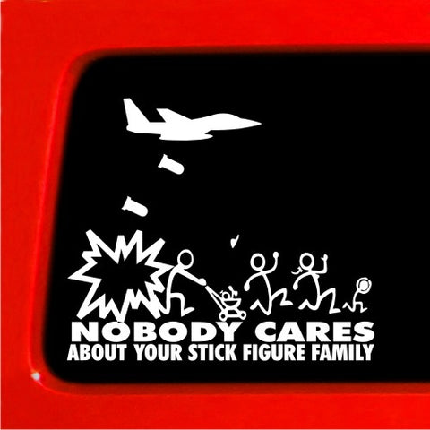 Jet Fighter Stick Figure Family Nobody Cares bomb funny stickers car decal