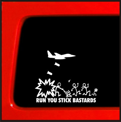 Jet Fighter Stick Figure Family Run You Stick Bast*rds bomb funny stickers ca...