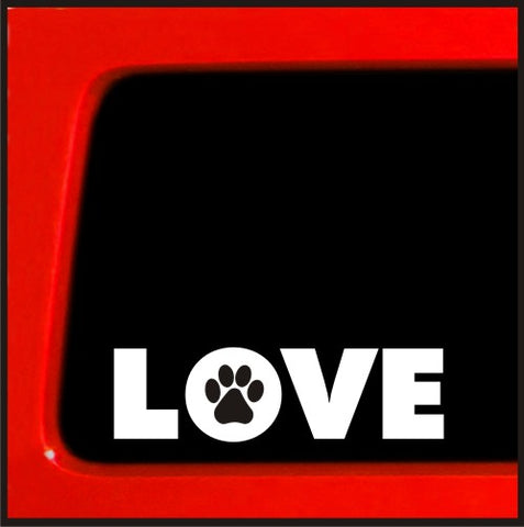 Love paw prints white vinyl sticker - cute animal dog puppy kitten wag pet decal