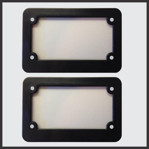 Motorcycle Scooter Blank Plastic License Plate Frame Set Tag Holder New Plain