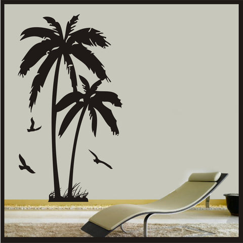 Palm Tree With Birds - Wall Art Vinyl Sticker Decal Wall beach hawaii Decor Tropical vinyl decal