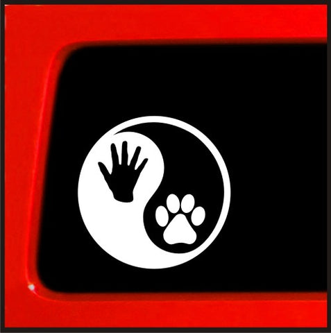 Dog Paw Yin Yang human Hand print vinyl window decal sticker car ying