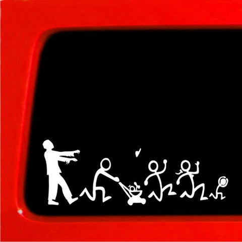 Zombie Stick Figure Family Nobody Cares truck funny stickers car decal blank