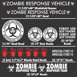 Zombie Outbreak Response Team - 17 Piece Lime Green Vehicle Sticker / Decal Kit - (Various Colors)