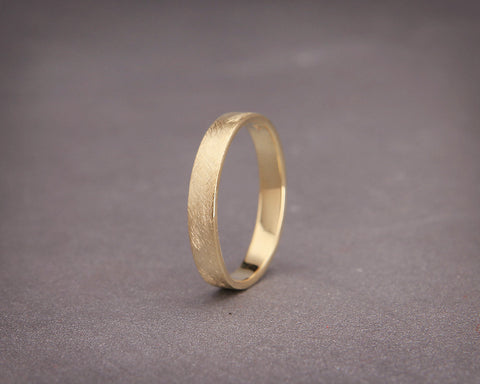 Handmade yellow gold rustic women wedding band