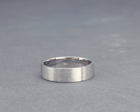 Handmade white gold rough brushed women wedding band