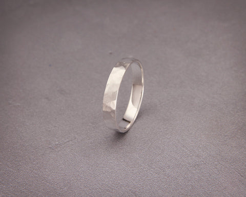 Handmade white gold faceted matte women wedding band