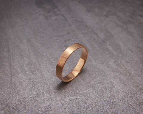 Handmade rough brushed 14k rose gold men's wedding band