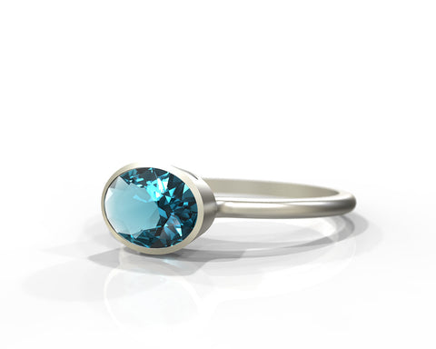 Aquamarine ring set on 14k white gold