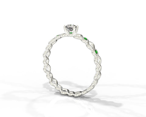Diamond and Emerald braided engagement ring