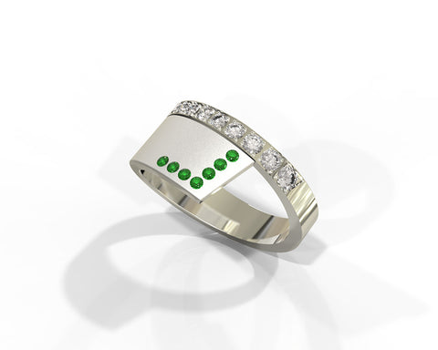 Alternative emeralds and diamonds statement ring