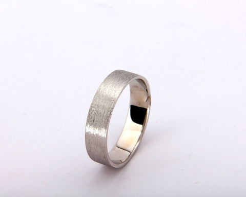 Handmade rough brushed 14k white gold men's wedding band