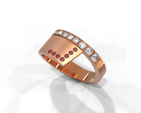 Alternative ruby and diamonds statement ring