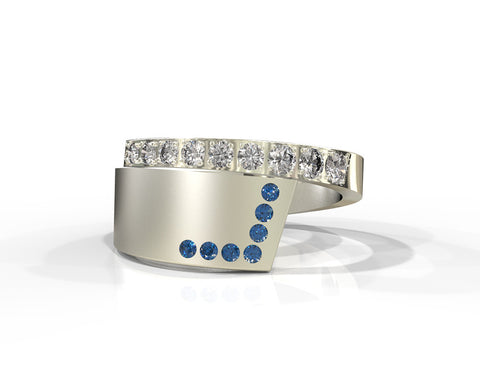 Alternative blue sapphires and diamonds wedding ring