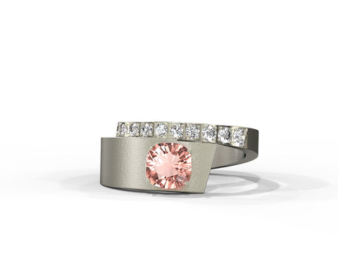 Alternative morganite and diamonds statement ring