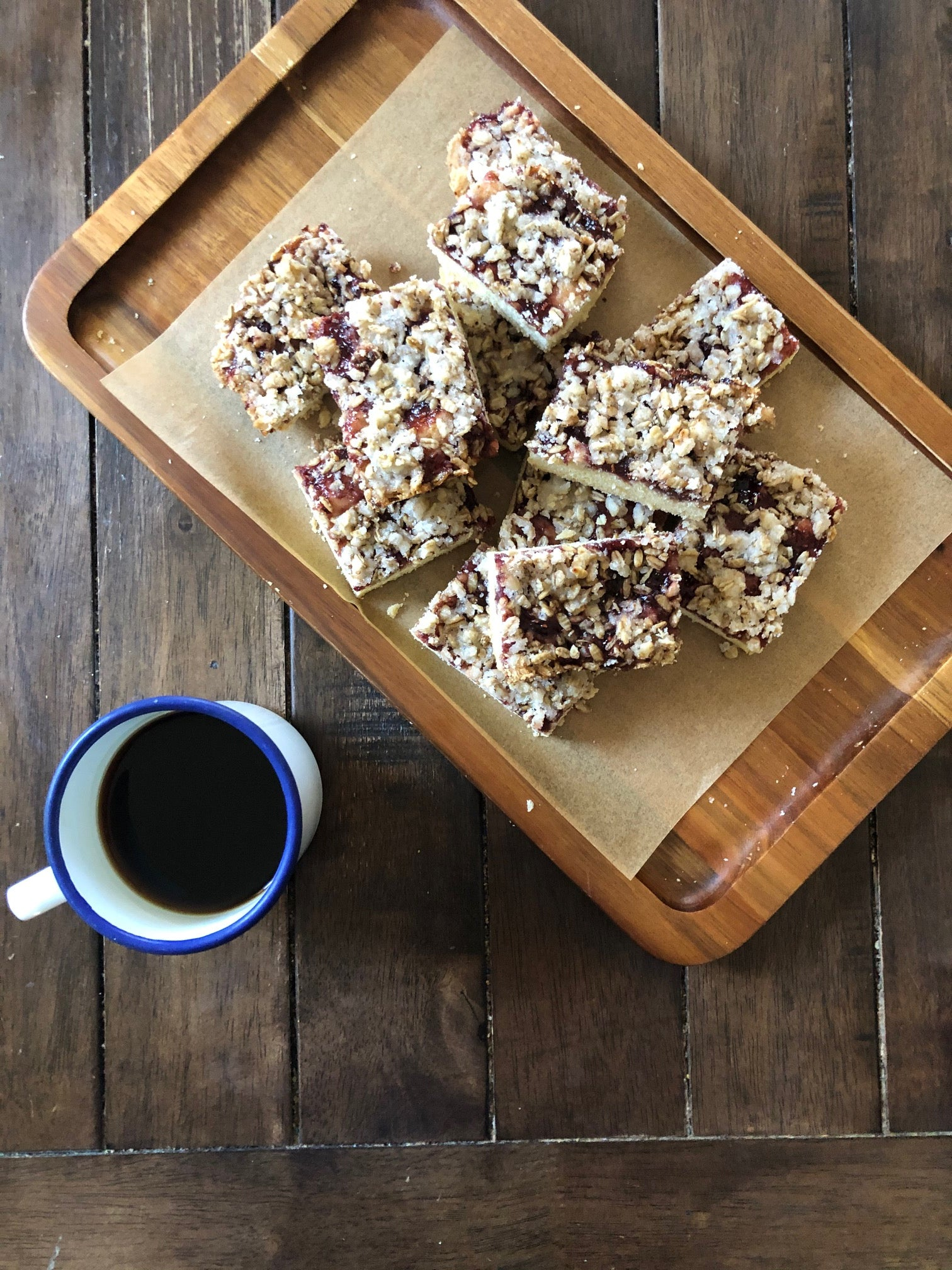Raspberry Rose Jam Squares with Oatmeal
