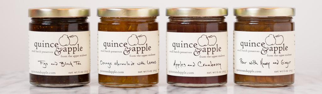 Four jars of Quince and Apple preserves
