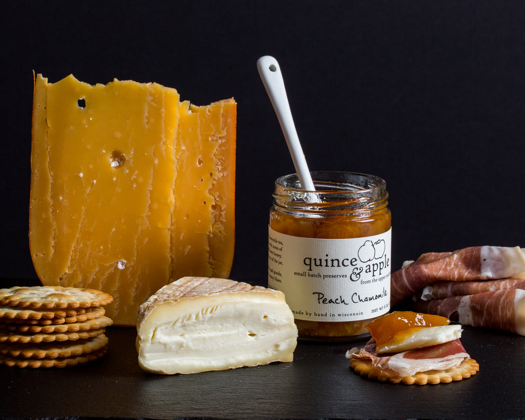 Cheese board with Peach Chamomile preserves