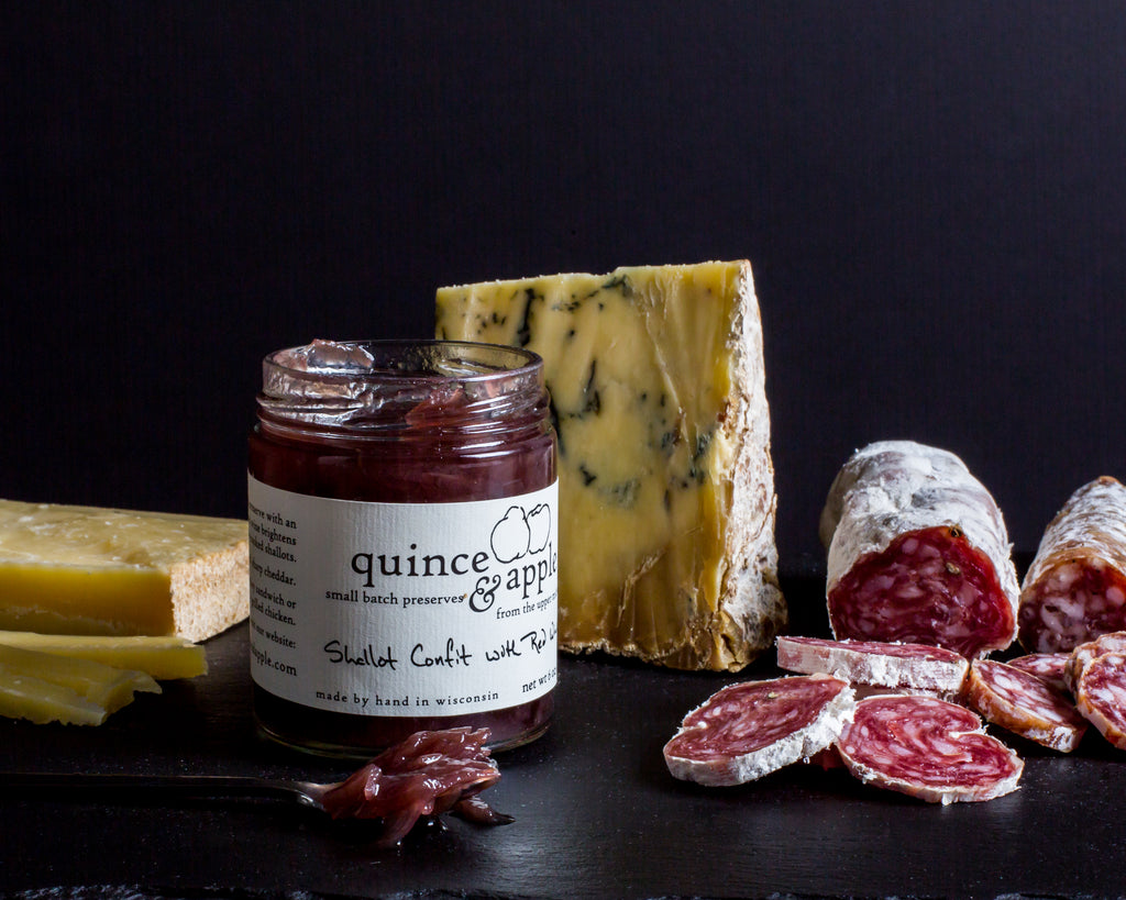Cheese board with Shallot Confit and Red Wine