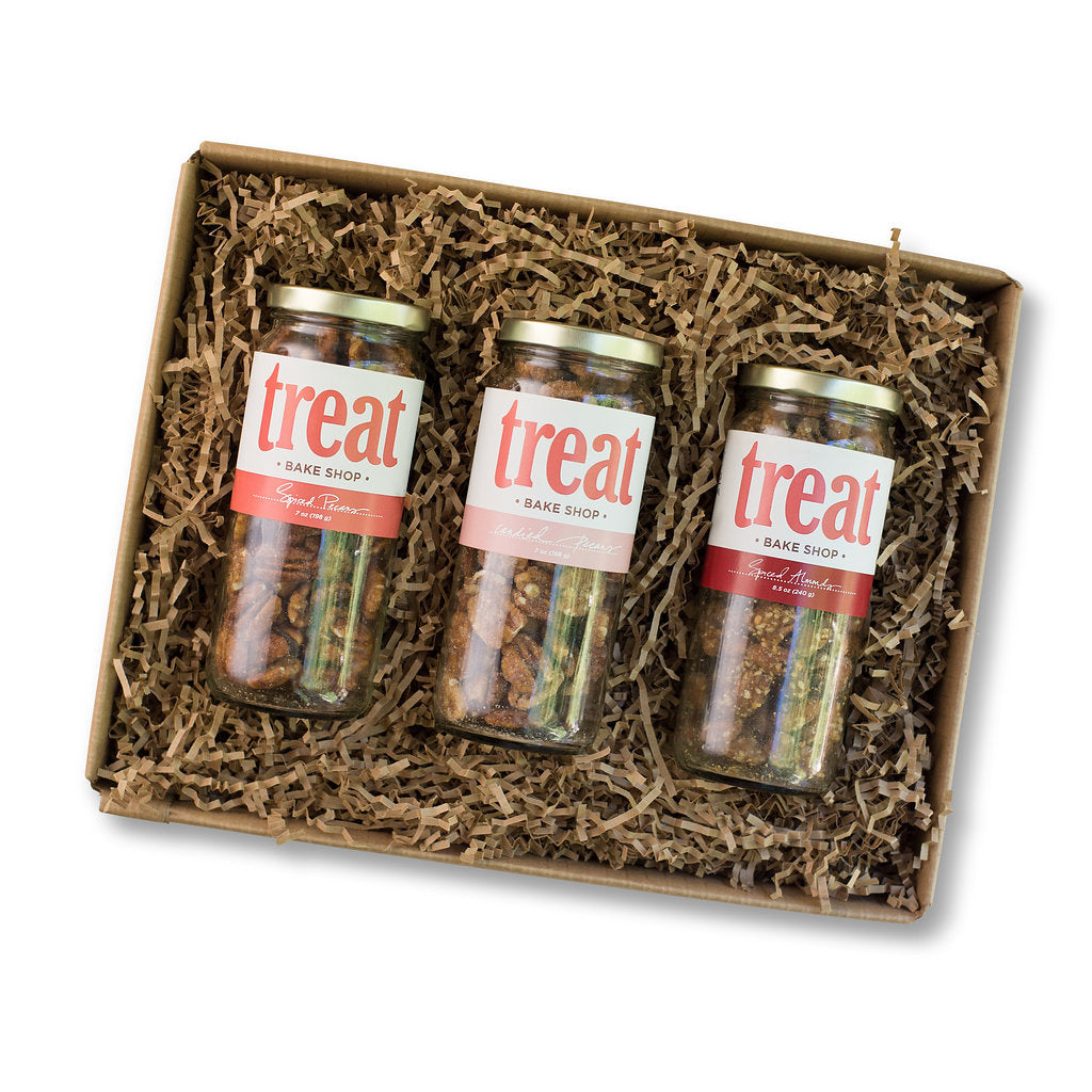 Our three jar gift set of spiced and candied nuts.